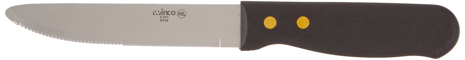 Winco - Round End Steak Knife with Plastic Handle (12 Pieces)