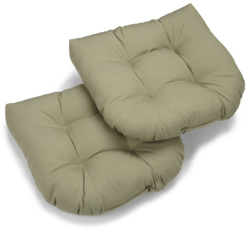 Blazing Needles Twill 19-Inch by 19-Inch by 5-Inch U-Shaped Cushions, Sage, Set of 2