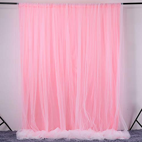 Pink Tulle Backdrop Curtain for Baby Shower Wedding Birthday Party Decorations Photo Booth Photography Background Party Decor Supplies 5 ft X 7 ft