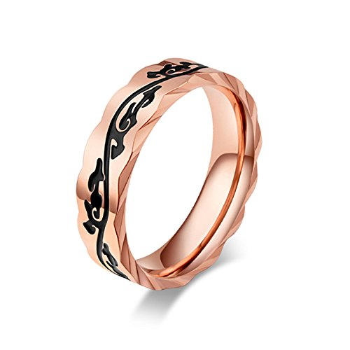 JAJAFOOK Unisex's Fashion Rose Gold Plated Stainless Steel Wide 5mm Ring 5mm Stainless Steel Spin Ring