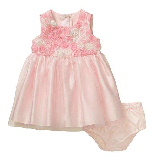 George Infant Girls Pink Rosette Satin & Tulle Easter & Holiday Dress (Pink Tulle Rosette)