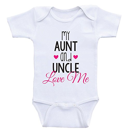 Cute Baby One Piece My Aunt and Uncle Love Me Newborn Baby Clothes (3mo-Short Sleeve, Hot Pink Text)