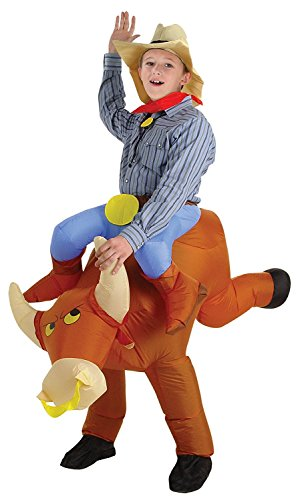 [Inflatable Rider Costume Fancy Dress Bull Cattle Cowboy Funny Suit Mount For Kids Adult] (Bull Rider Costume Toddler)