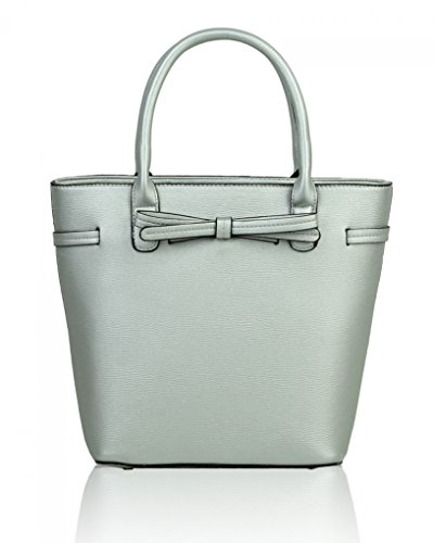 For Handbags Bow 051 Women's Holiday Shoulder Tote Grab Silver Bags Bag Casual LeahWard Cute 8z65qWU45
