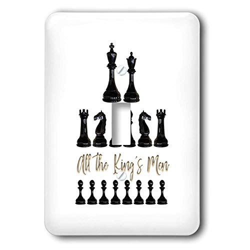 3dRose Alexis Design - Sport Chess - Set of black chessmen and a text All the kings men on white - Light Switch Covers - single toggle switch (lsp_302155_1)