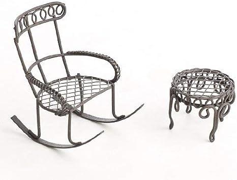 Miniature Dollhouse FAIRY GARDEN ~ TINY Micro Mini Cream Rocking Chair /& Table