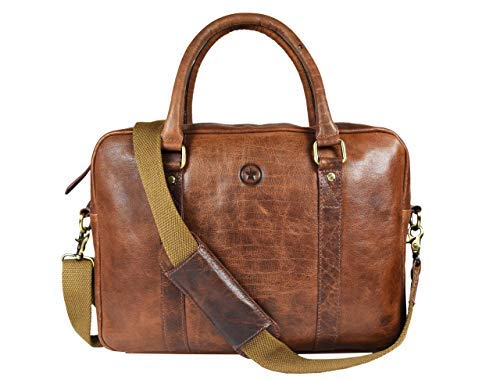 Leather Messenger Bag for Men and Women by Aaron Leather (Rustic Crazy Horse)