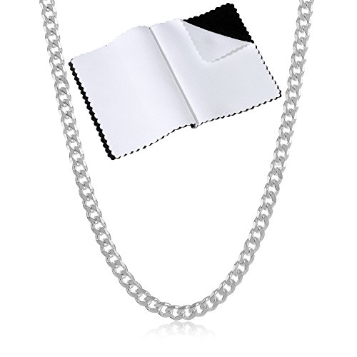 925 Sterling Silver Italian Crafted 2.8mm Beveled Cuban Link Chain Necklace, 30
