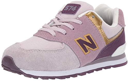 New Balance Girls' Iconic 574 Sneaker Light Cashmere/Dark Currant 8.5 W US Toddler -