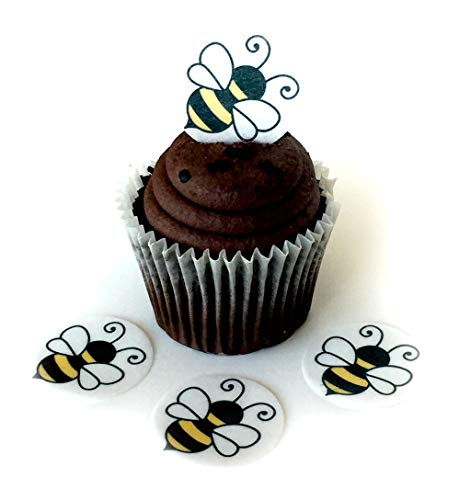 (Bumble Bee Honey Wafer Paper Toppers 1.5 Inch for Decorating Desserts Cupcakes Birthday Cakes Cookies Pack of 24 )