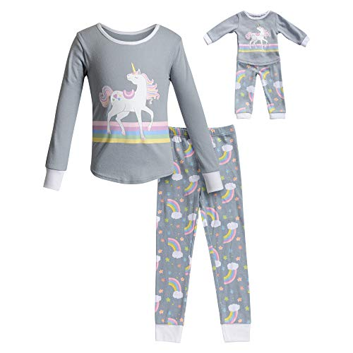 Dollie & Me Girls' Apparel Snug Fit Sleepwear Set and Matching Doll Outfit in, Gray, Size 5