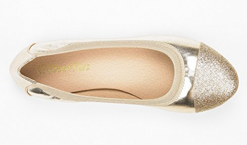 Paires De Rêve Womens Sole-flex Ballerine Appartements De Marche Chaussures Or