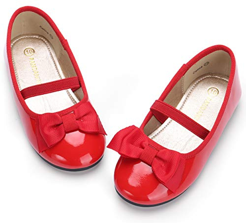 Girl's Ballet Dress Flats Mary Jane Slip On Wedding Party School Uniform Shoes (Toddler/Little Kid),Toddler Flats, Red ()