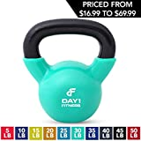 Kettlebell Weights Vinyl Coated Iron by Day 1 Fitness- 30 Pounds - Coated For Floor and Equipment Protection, Noise Reduction - Free Weights For Ballistic, Core, Weight Training