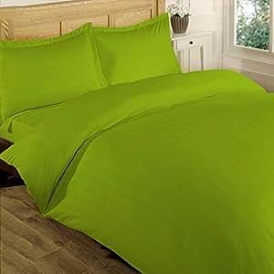 Brightlinen 4pcs Duvet Set Fitted Stripe Single Parrot Green 400 Thread Count