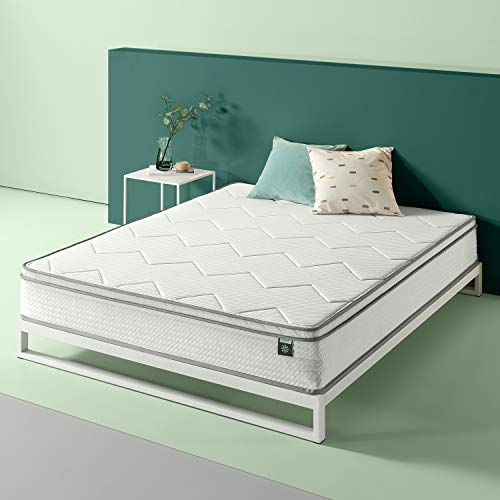 Zinus 10in Charcoal Euro Top Bonnel Spring Mattress, Full