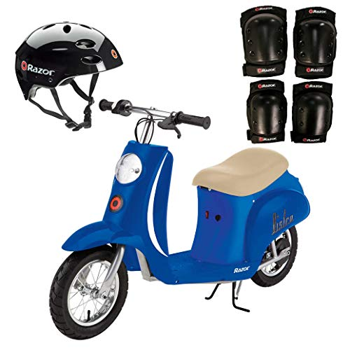 Razor Pocket Mod Electric Scooter + Youth Helmet + Elbow & Knee Pad Safety ()
