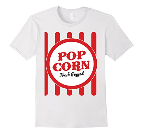 Popcorn Tee (Mens Old Fashion Popcorn Costume T-Shirt Halloween Trick Or Treat Medium White)