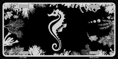 sea-horse-black-brushed-chrome-novelty-metal-license-plate