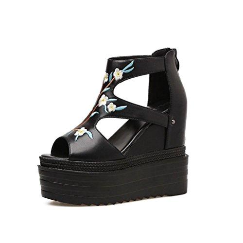 QPYC Sandalias de tacón de mujer talón bordado de fondo grueso en el interior Aumentar botas de boca de pescado verano cómodo pastel de muffin Shose , black , 39 black