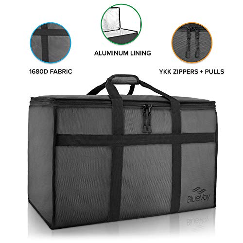 BlueVoy Insulated Food Delivery Bag  Premium Large Commercial Catering Bag for Food Transport - Hot and Cold Thermal Insulated Food Carrier with YKK No Snag Zippers  Ultra Durable Polyester Material