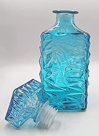 Noble decantador de vidrio, jarra decantadora para whisky, vino, ron, coñac, vodka y muchas otras bebidas espirituosas/ Botella de whisky con tapa de vidrio, 1000ml/ Turquesa