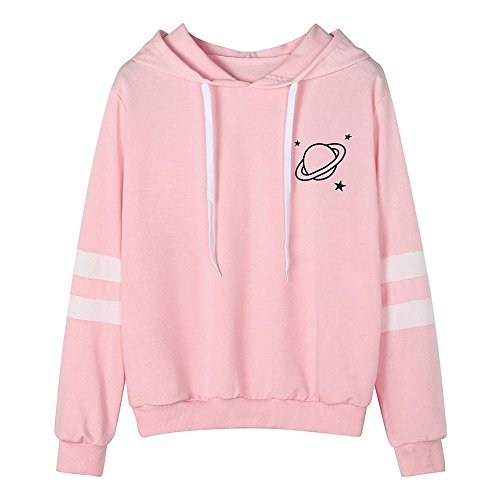 HGWXX7 Women Hoodie Sweatshirt Fashion Printed Long Sleeve Hooded Pullover Blouse Tops(M,Pink) -