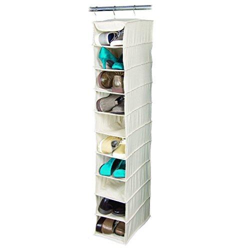 Hanging Shoe Shelves (Richards Arrow Weave Large 10 Shelf Hanging Shoe Organizer-beige (1, Natural beige))