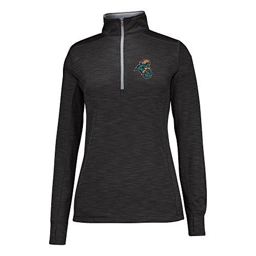 J America NCAA Coastal Carolina Chanticleers Women's Courtside Poly Fleece 1/2 Zip Sweater, Small, Black/Cement