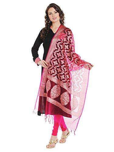 Dupatta Bazaar Women's Benarasi Organza Silk Woven Pink & Gold dupatta
