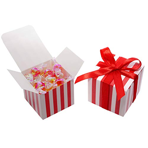 Striped Favor Box - Circus Party Favors Boxes Supplies Red White Striped Party Candy Treat Gift Boxes Wedding Baby Shower Carnival Birthday Party Favors Boxes Supplies, 50Ct