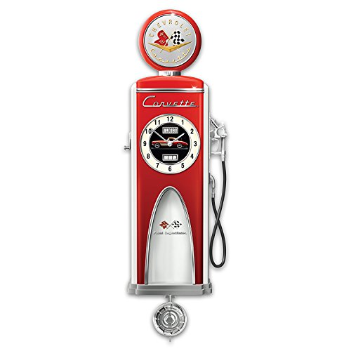 Corvette 1950s Gas Pump Sculpture Wall Clock: Lights Up and Officially Licensed by The Bradford Exchange