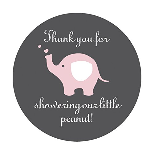 Pink Grey Elephant Thank You Stickers, Girl's Baby Shower Party Favor Labels, 2 Inch Thank You for Showering Our Little Peanut, 40-Pack ()