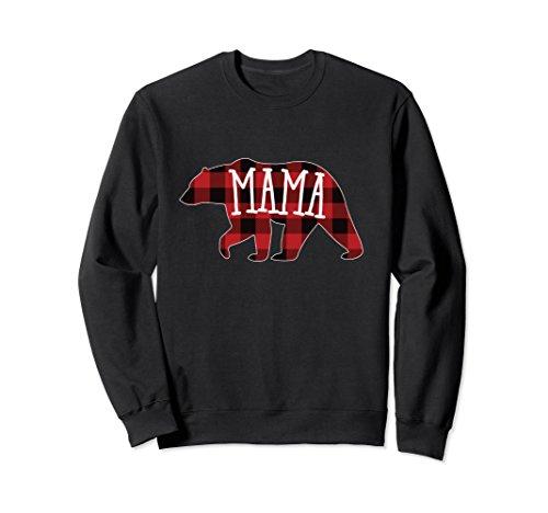 Unisex Mama Bear Crewneck Sweatshirt, Buffalo Plaid Mama Bear 2XL (Black Bear T-shirt Sweatshirt)