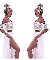 PROMNOVAS Women's Two Pieces Lace Beach Wedding Dress High Split Boho Dress