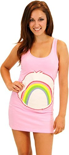 Care Bears Cheer Bear Pink Costume Tunic Tank Dress (Cheer Bear) (Pink) (Juniors Medium) (Adult Care Bears Cheer Bear Costume)