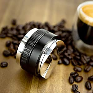 53mm Coffee Distributor/Leveler & Tamper, Fits 54mm Breville Portafilter, Double Sided, Adjustable Depth from crema coffee products