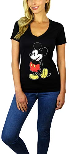 Disney Womens Mickey Mouse Stand V-Neck Tee (Black, Medium)