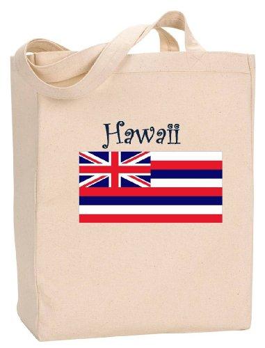HAWAII - FLAG - State Series - Natural Canvas Tote Bag with - Maui Shopping Lahaina
