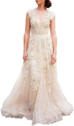 5eb62d5d0c Ruolai Asa Bridal Women s Vintage Cap Sleeve Lace Wedding Dress A Line  Evening Gown