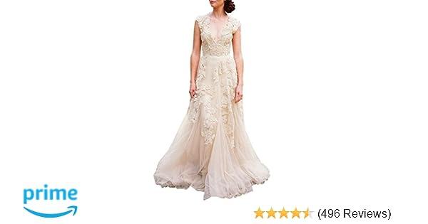 546156d12e447 ASA Bridal Women's Vintage Cap Sleeve Lace Wedding Dress A Line Evening Gown