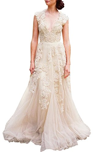 ASA Bridal Women's Vintage Cap Sleeve Lace A Line Wedding Dresses Bridal Gowns champagne 14