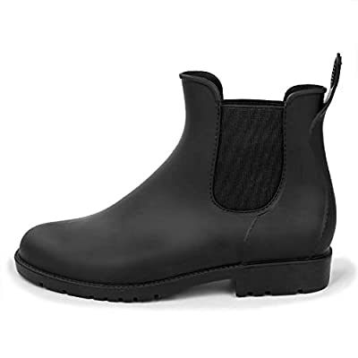 Smiry Women Men Anti Slip Rain Shoes Black Ladies Slip On Waterproof Short Ankle Rain Shoes Chelsea Boots