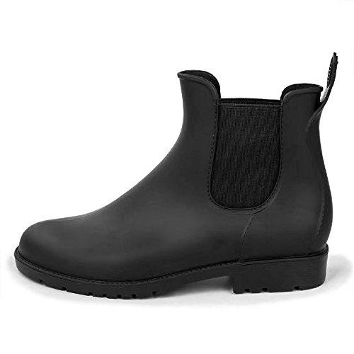 Smiry Womens Short Rain Boots Waterproof Anti Slip Rubber Ankle Chelsea Booties