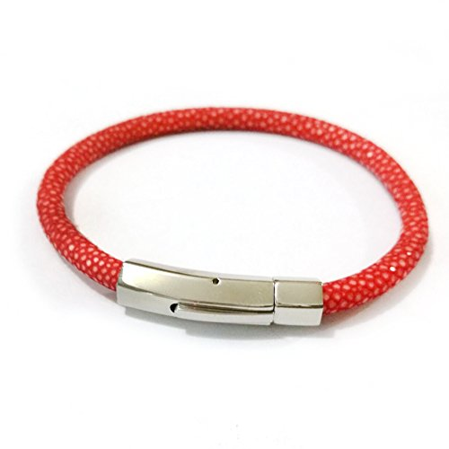 BeiChong Luxury 5MM Stingray Leather Bracelet Silver Stainless Steel Buckle Bangles for Women Men (Red)