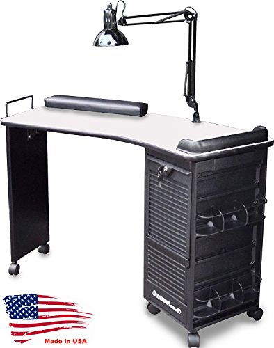M600-DLX FF Manicure Nail Table Lockable Curved White Lam.Top Made in USA by Dina Meri by Dina Meri