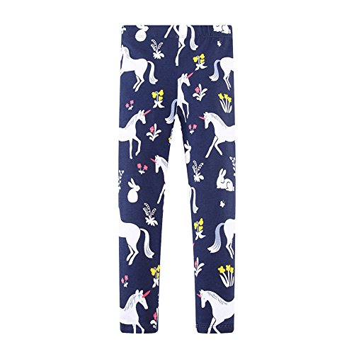 - KIDSALON Little Girls Casual Cartoon Print Long Cotton Pants (4T, Unicorn Horses)
