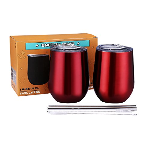 Bear Steel Stainless (Wine Stemless Glass Tumbler Stainless Steel Unbreakable Double Wall Vacuum Insulated Cup With Lid Straw Brush for Coffee Cocktails Champagne Beer Ice Cream Drinkware (Wine Red 2Pack, 12 OZ))