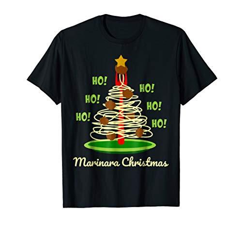 Marinara Christmas Spaghetti and Meatballs Festive Holiday Tree Italy Humor T-Shirt