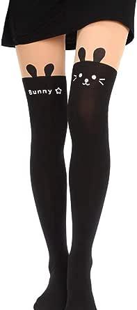 Cat Stockings Pantyhose Cartoon Bunny Socks Mock Knee Nude High Thigh Tights